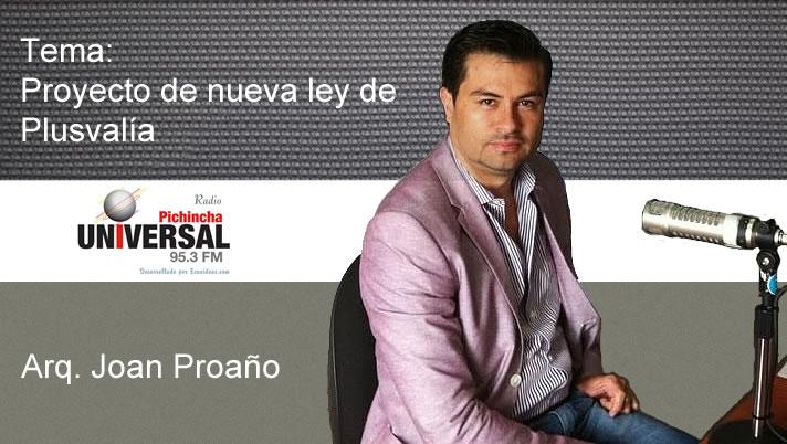 Proyecto de nueva ley de Plusvalía con Joan Proaño – Radio Pichincha Universal