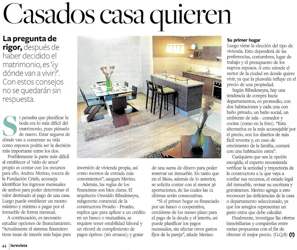 CASADOS CASA QUIEREN: nota realizada por LA REVISTA de Diario El Universo sobre el primer hogar de una pareja.